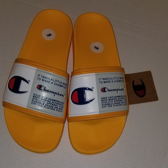 yellow champion flip flops